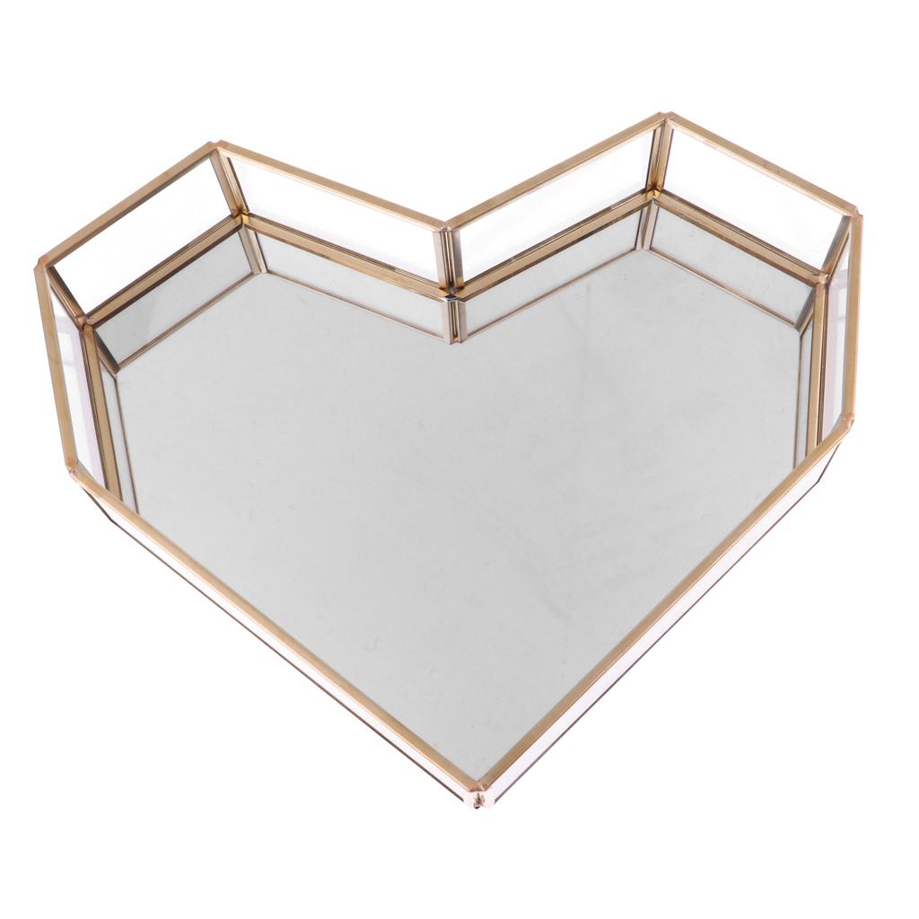 Vintage Love Heart Shape Glass Jewelry Box Table Succulent Plants Planter