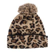 Gebreide Hoed Luipaard Print Warm Knit Cap Hairball Beanie voor Herfst Winter Mannen Vrouwen (Kaki)(China)