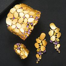 GODKI 2020 קסמי חדשים 3PC צמיד טבעת עגיל סט לנשים חתונה כלה מעוקב זירקון דובאי מסיבת חתונת תכשיטים BOHO 2020(China)