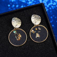 Vintage Wedding Gift Wholesale Jewelry Unique Design Resin Earrings For Women Gold Color Round Ball Geometric Earrings For Women(China)