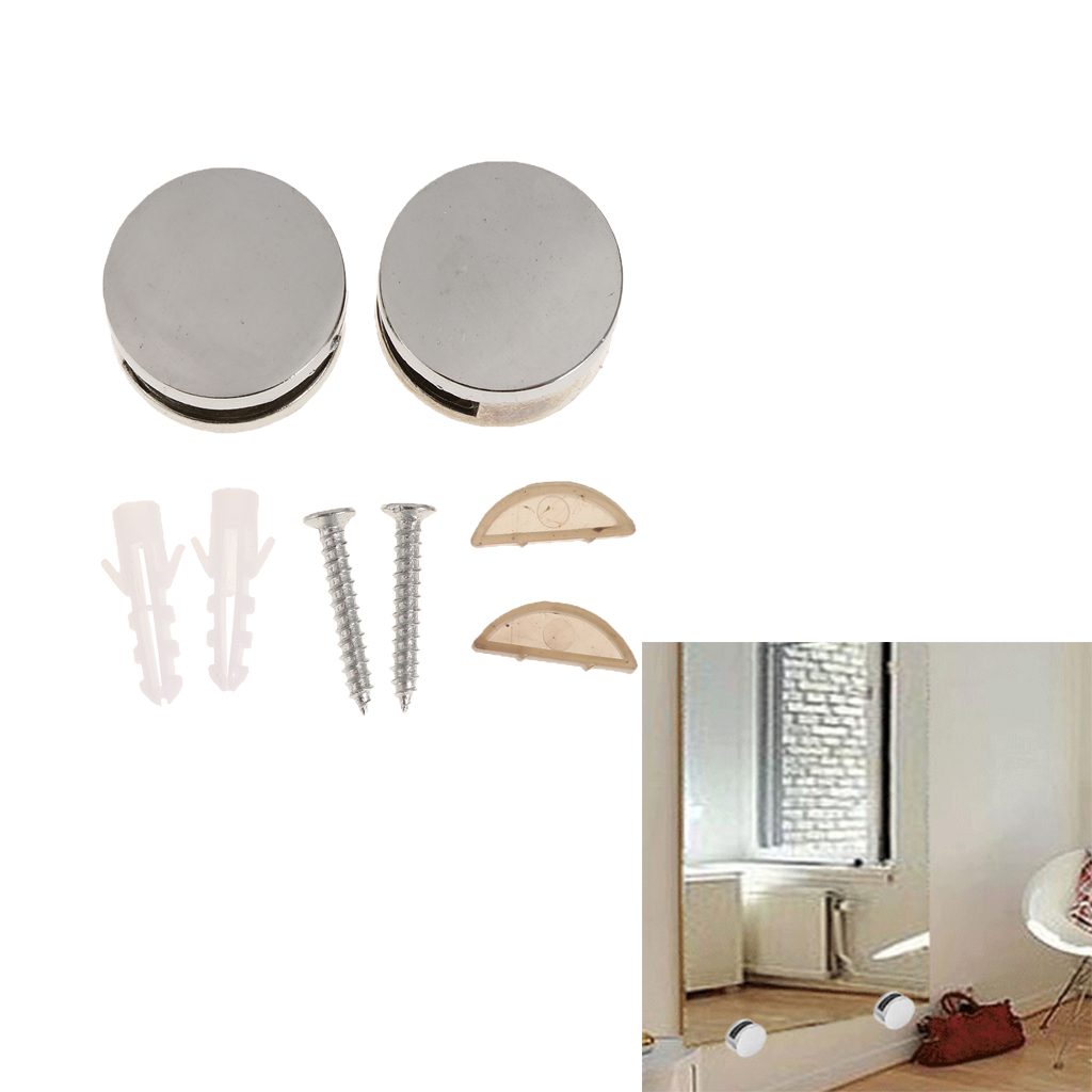 1Pair Metal Alloy Round Glass Mirror Mounting Holder Clip Set Clamp Bracket