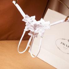 Culotte Sexy pour filles et femmes   Sous-vêtements brodés motif Floral, avec chaîne en perles, culotte tanga, taille basse, slip Transparent ajouré, livraison gratuite(China)