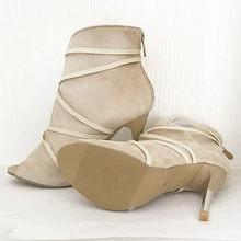 Bayanlar moda yarım çizmeler kadınlar için sivri burun Stiletto topuk dantel-up çizmeler rahat ayakkabılar kadın ince topuklu süet tek çizmeler(China)