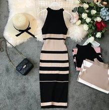 Vestido ajustado Vintage sin mangas a rayas a la moda para mujer, vestidos elegantes de punto, Vestido de verano 2019(China)