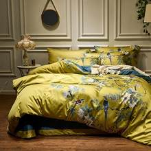 Yellow Silky Egyptian cotton Chinoiserie style Birds Plant Duvet Cover Bed sheet Fitted sheet set King Queen Size Bedding Set(China)