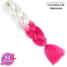 Огромные косички синтетические плетеные волосы длинные Омбре JumboCrochet блонд розовый синий серый волосы для наращивания африканская вязка(China)
