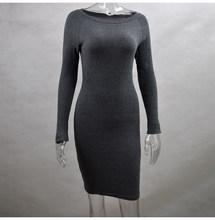 Lossky femmes moulante tricoté coton robe automne printemps pur mince robes à manches longues mince noir décontracté élasticité Mini robe(China)