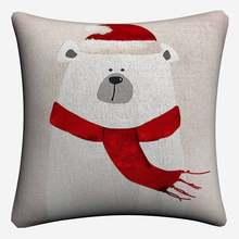 Hippo Polar Bear Pinguin дети мультфильм декоративные подушки Чехлы для дивана домашний декор чехол для подушки из льна 45x45 см чехлы на подушки(China)