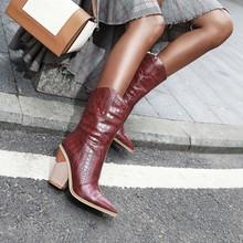 Vertvie batı kovboy çizmeleri kadın orta buzağı botları kama kış Pu deri çizmeler sivri burun Cowgirl kısa çizmeler kadın ayakkabıları(China)