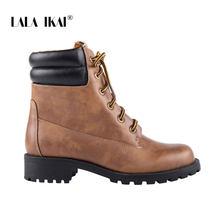 LALA IKAI çizmeler kadın 2019 sonbahar bahar dantel kahverengi düz yarım çizmeler kadın leopar Patchwork fermuar ayakkabı kadın WA8094-4(China)