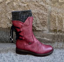 Winter Laarzen Vrouwen Ontwerp Snowboots Punk Vrouw Schoenen Lace-up Booties Terug Mid-Kalf Laarzen Warme Zapatos de Mujer(China)