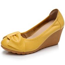 PEIPAH Herbst Echtem Leder frauen High Heels Schuhe Mary Jane Weibliche Pumpen Slip Auf Casual Flach Frau Zwängt Plattform schuhe(China)