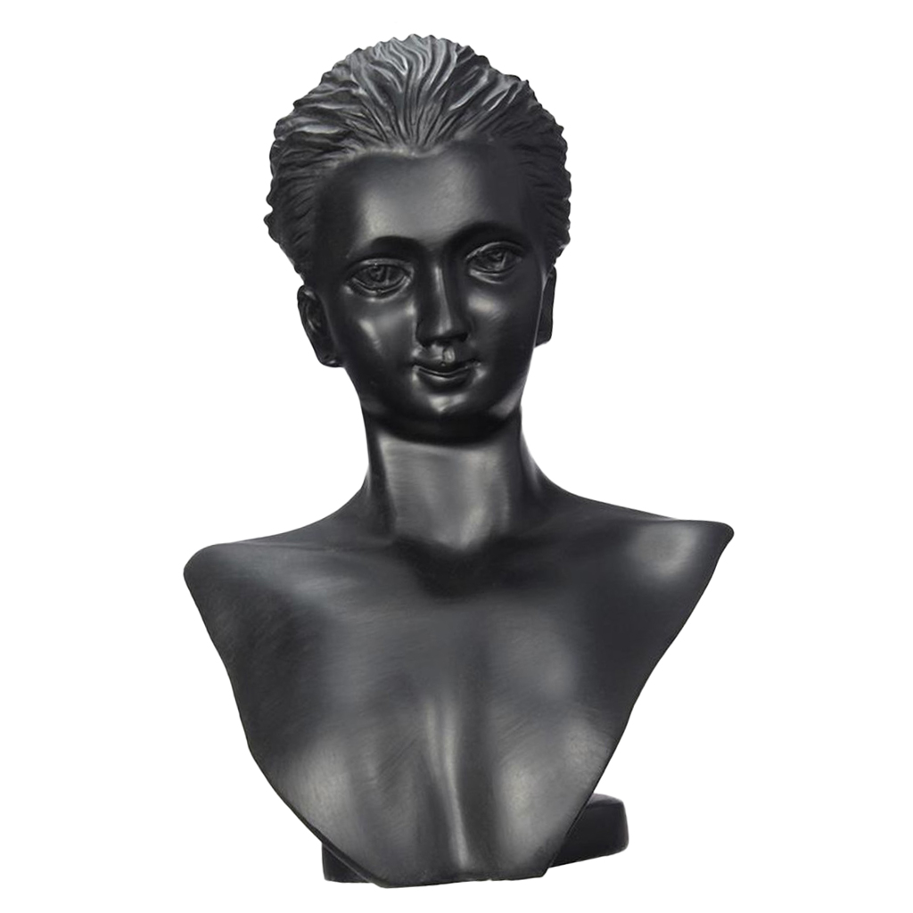 Black Resin 3D Mannequin bUST Lady Figure Display Necklace Earring Jewelry