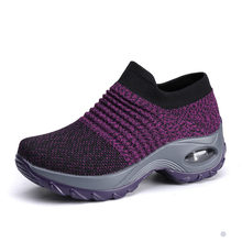 EOFK 2019 mode automne femmes plate-forme chaussures femme chaussures plates pour femme automne décontracté noir Ballet chaussures confort chaussette sans lacet chaussures de danse(China)