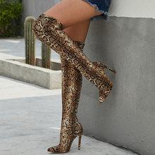 2020 kadın diz üzerinde uyluk yüksek çizmeler fetiş süet 11cm yüksek topuklu striptizci uzun Pleaser Stiletto kış yılan deri ayakkabı(China)