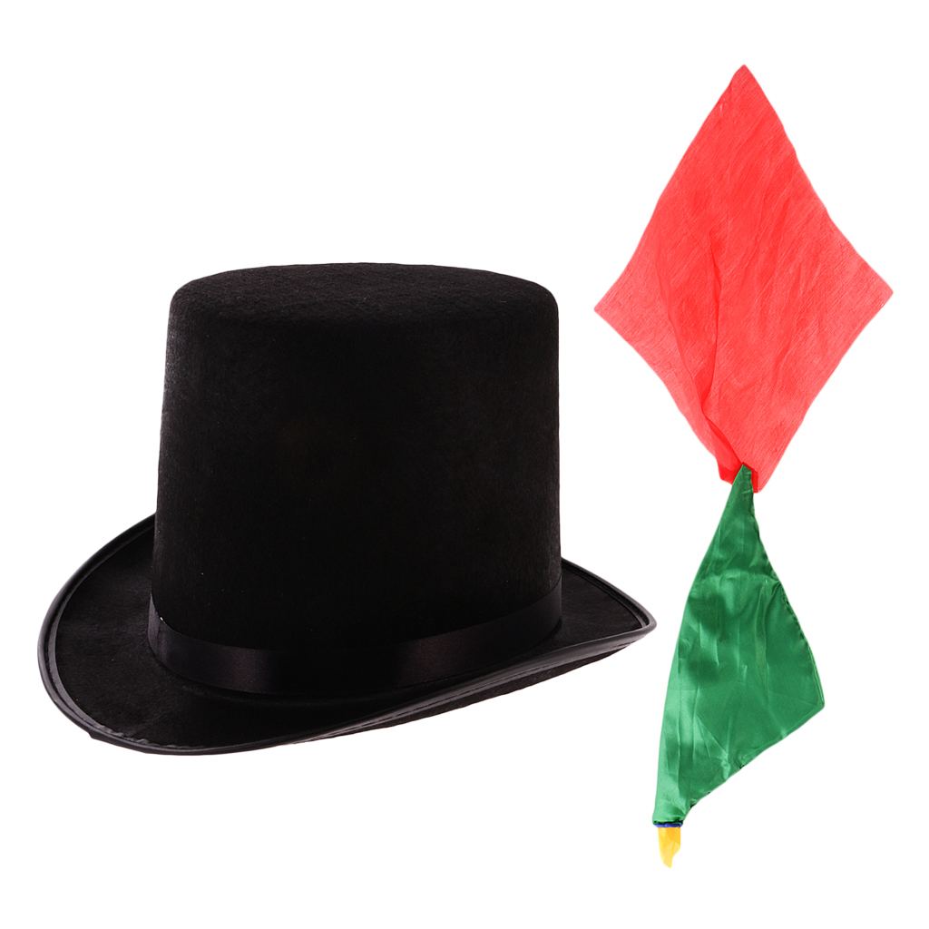 Magician Magic Trick Performing Prop Black Jazz Hat+Change Color Silk Scarf Close up High Top Hat Topper Derby Cylinder Hat