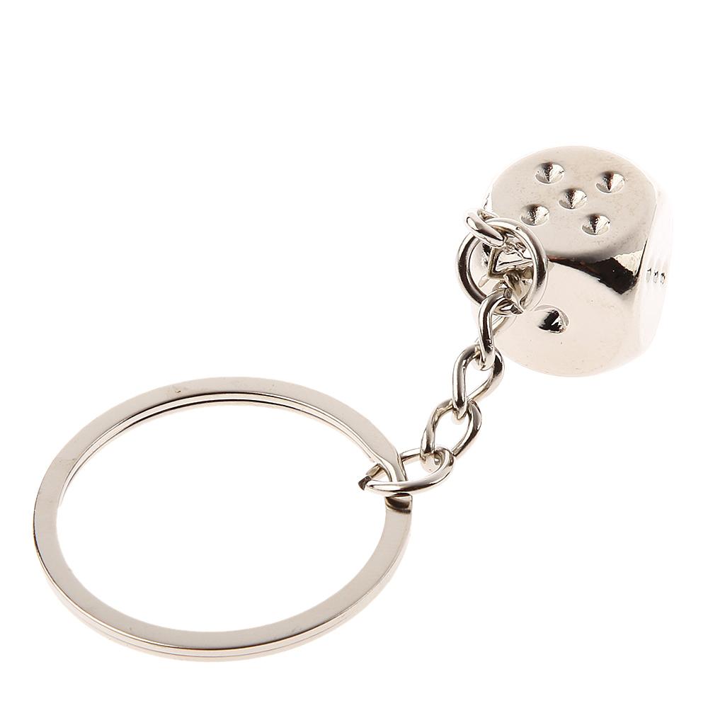 Creative Dice For Mahjong Key Chain Ring Keychain Keyring Keyfob Gift Silver