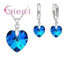 Heißer Verkauf Exquisite Herz 925 Sterling Silber Ohrringe Halsketten Sets für Mädchen Damen Österreichischen Kristall Hochzeit Zubehör(China)