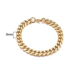 פשוט SILVERLY מוצק זהב מיאמי קובני קישור צמיד 3 כדי 11 MM נירוסטה שרשרת צמיד 7 כדי 9 אינץ ללא קשר מין(China)