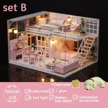 Bonito quarto manual diy fazer woodiness modelo villa em miniatura oxyphylla brinquedos para crianças boneca casa enviar presentes coisas casa de bonecas(China)