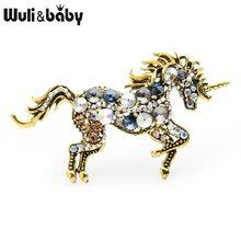 Wuli & del bambino Strass Unicorno Spille Donne Della Lega Animale Cavallo Matrimoni Banchetti Spille Regali di Capodanno(China)