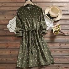 7 stili Mori Ragazza Vintage Velluto A Coste Abito Camicia Delle Donne Ricamo Floreale Elegante Autunno Inverno regalo Di Natale Abiti Midi Dress(China)