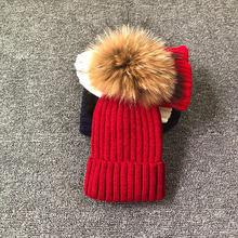 2019 novo estilo de moda inverno primavera chapéus para crianças chapéu skullies beanies 15cm pompom chapéu de pele para meninas gorro enfant(China)
