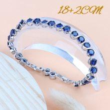 נשים כלה תכשיטי סטי כסף 925 כחול מעוקב Zirconia עגילי חתונה תלבושות תכשיטי צמיד טבעת שרשרת תליון סט(Hong Kong,China)