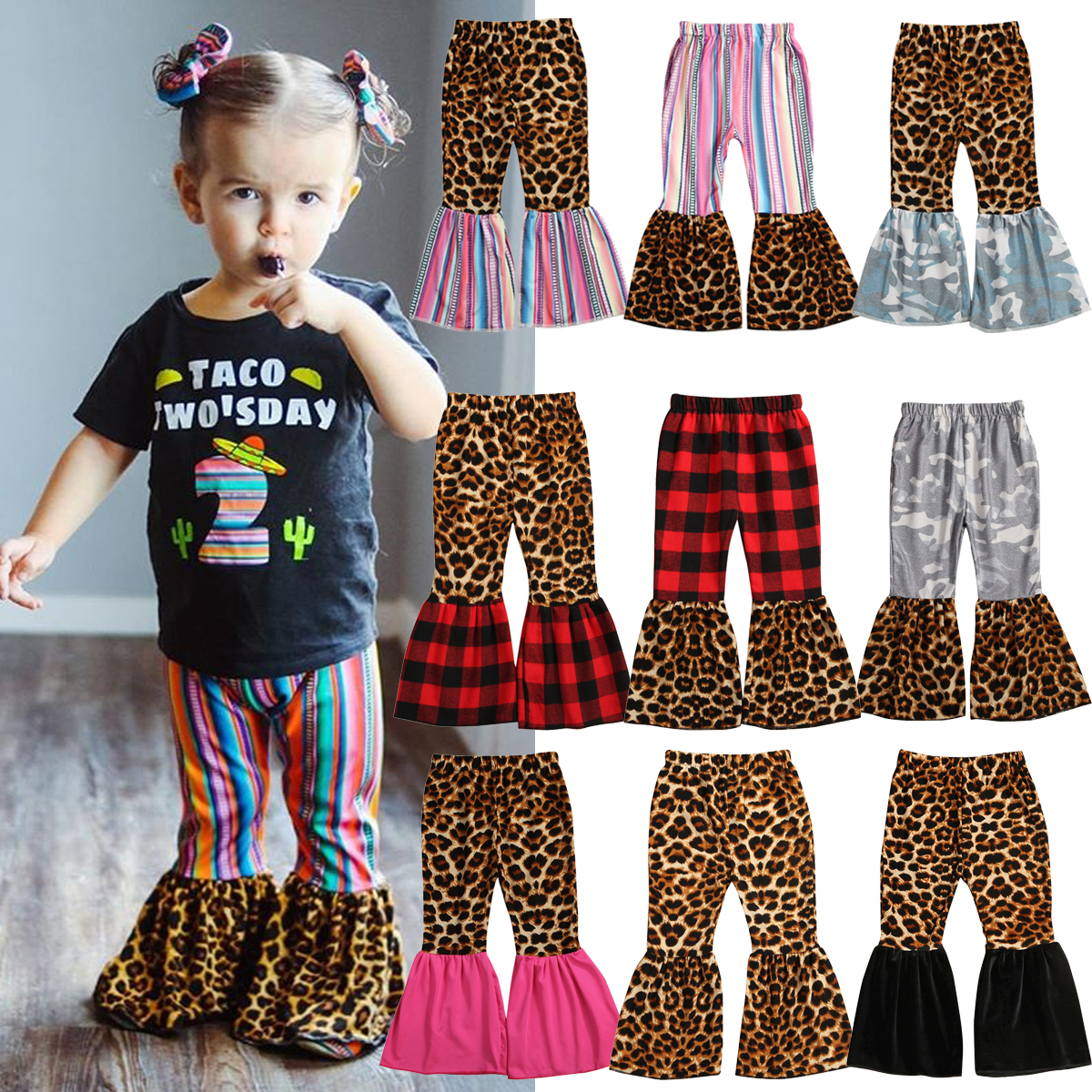 WALLARENEAR Toddler Girls Denim Jeans Ruffle Flare Pants Bell Bottom Trousers Ripped Leggings Baby Girl Fall Winter Clothes