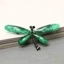 Nuovo Animale Della Resina Dragonfly Spille Cappello Maglione del Pannello Esterno Dell'annata di Cristallo Insetto Spilla Spilli Vestito di Affari Sciarpa Per Le Donne Degli Uomini(China)