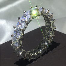 Вечная вечность, кольцо, 925 пробы, серебро, AAAAA cz, обручальные кольца для мужчин и женщин, вечерние ювелирные изделия, подарок(China)