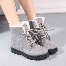 Kadın kar botları 2019 kare topuklar kadın kış çizmeler sıcak kürk peluş katı ayak bileği çizmeler kadın ayakkabıları dantel-up rahat ayakkabılar kadın(China)