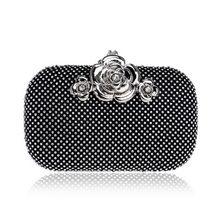 Роскошный женский клатч GLOIG, серебристый/золотой/черный, женские свадебные сумки, бриллианты, лист металла, вечерние сумки, чехол(China)