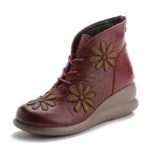 Sonbahar ve kış yeni deri rahat kadın ayakkabısı ulusal rüzgar Retro el yapımı bayan botları kalın aşınmaya dayanıklı pamuk(China)