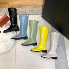 Fujin Frauen Stiefel Winter Herbst Mode Dropshipping Solide Gummi Candy Farben Flachen Boden Hoof Heels Freizeit Kniehohe Stiefel(China)