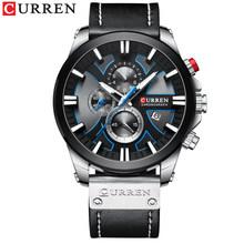CURREN montre chronographe Sport hommes montres Quartz horloge cuir homme montre-bracelet Relogio Masculino mode cadeau pour hommes(China)