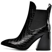 BONJOMARISA Neue 33-43 Luxus Marke Designer Booties Damen Qualität Aus Echtem Leder Stiefeletten Frauen 2019 Hohe Ferse Schuhe frau(China)