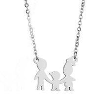 New Family Love Mom Dad Son Daughter Necklaces Gifts Stainless Steel Pendants Boys Girls Mothers Fathers Necklace For Kids(China)