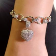 Shining Heart Shape จี้สร้อยคอสร้อยข้อมือ Cubic Zirconia ชุดสีเงิน Charm ดูไบชุดเครื่องประดับเจ้าสาวงานแต่งงาน Bijoux(China)