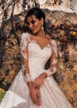 אשלי קרול שרוול ארוך חתונת שמלות 2020 Vestido דה Noiva חוף אונליין רומנטי אפליקציות טול כפתור נסיכת כלה שמלה(China)