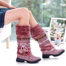 KARINLUNA Frauen Pelz Stiefel Damen Winter Schuhe Frau Zipper Casual Knie Stiefel Warm Halten Schnee Stiefel Schwarz Big Größe 35 -46(China)