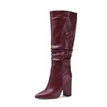 Morazora Plus Size 34-43 Mới Thương Hiệu Giày Bốt Nữ Dày Cao Cấp Thu Đông Giày Da Bò Phương Tây Đầu Gối Cao Cấp giày Nữ Giày Nữ(China)