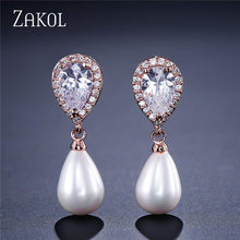 ZAKOL Exquisite White Color Simulated Pearl Jewelry Set Fashion Cubic Zircon Earrings Neckalce Set for Women Party FSSP323(China)
