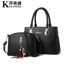 100% Kulit Asli Wanita Tas Tangan 2019 Baru Dua Tas Fashion Wanita Tas Season Tas Bahu Tas Kapasitas Besar tas Messenger(China)