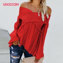 UGOCCAM Off Schulter Top Sexy Bluse Frauen Pilz Frauen Tops Und Blusen Plus Größe Bluse Hemd ropa mujer(China)