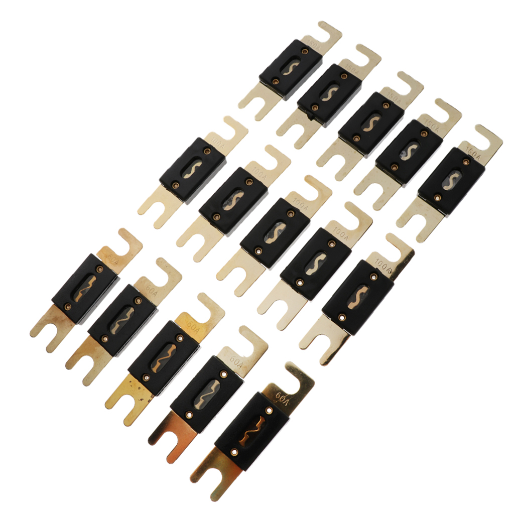 Hoja fusibles ANL Tipo chapado en oro se ajusta auto coche estéreo Audio Oblea estilo 500 Amp