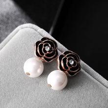 Phong Cách Hợp Thời Trang Hoa Camellia Bông Tai Hoa Ngọc Trai Thương Hiệu Lớn Eesign Bông Tai Boucle Femme Pendante Sang Trọng Trang Sức(China)