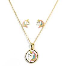 Hot Sale Pink Animal Jewelry Set Chain Kids Jewelry Cartoon Horse Unicorn Necklace Earring Unicorn Jewellery Sets For Girls(China)