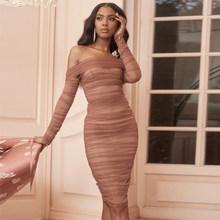 צבי ליידי מסיבת קיץ שמלת נשים 2019 סקסי Mesh Bodycon שמלה ארוך שרוול כבוי כתף Sheer Ruched סלבריטאים מועדון שמלה(China)