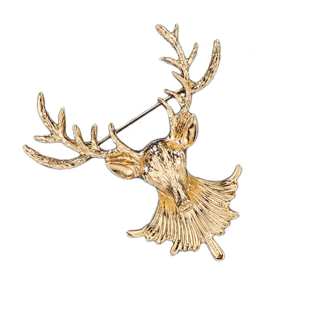 Fashion Vintage Deer Reindeer Brooch Collar Pin Jewelry Gift for Christmas Silver Gold